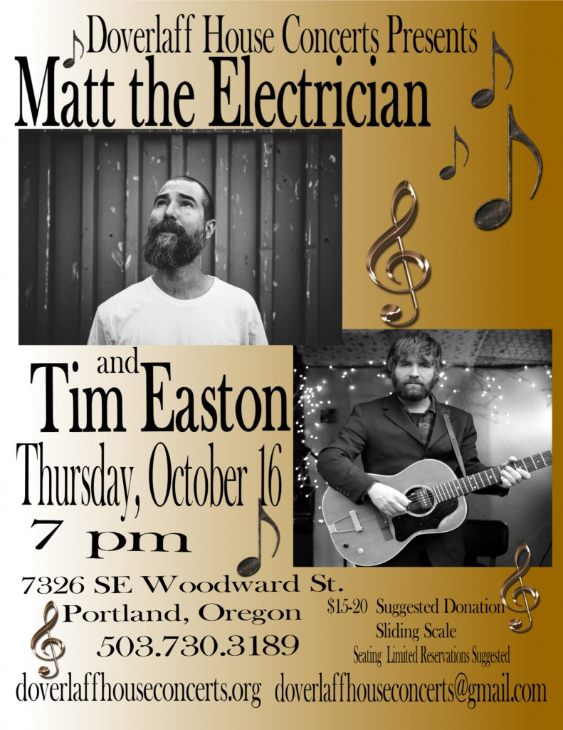 Matt the Electrician.Tim Easton House Concert Poster-page1
